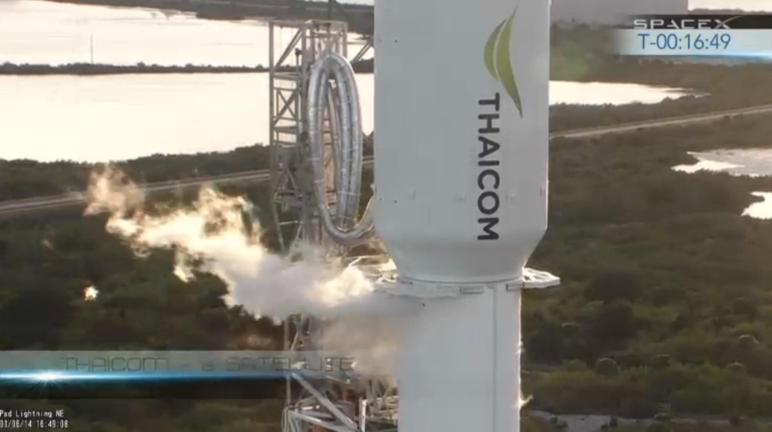 SpaceX Falcon 9 Preparing to Launch THAICOM 6