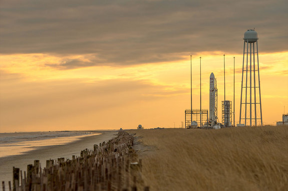 An Orbital Sciences Antares rocket is seen on Pad 0A at NASA's Wallops Flight Facility in Virginia in advance of its planned Jan. 8, 2014 launch of a Cygnus cargo ship to the space station.