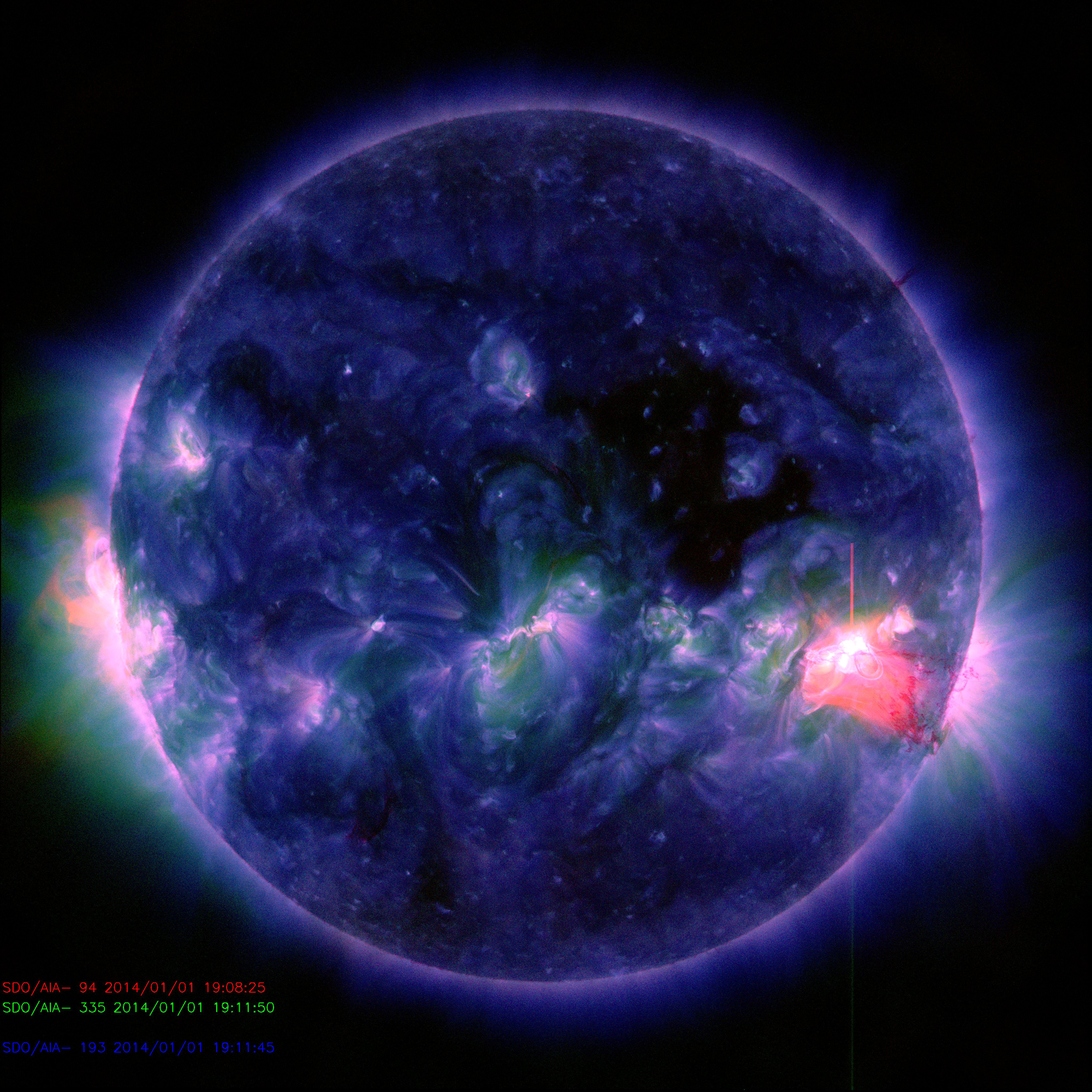 2014 New Year's Day Solar Flare: M9.9 (Full Disk)
