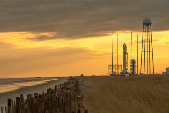 An Orbital Sciences Corp. Antares rocket is seen on launch Pad-0A at NASA's Wallops Flight Facility on Jan. 6, 2014 in advance of a planned Jan. 8 launch in Wallops Island, Va. The mission will launch Orbital's first Cygnus cargo mission to the space station.