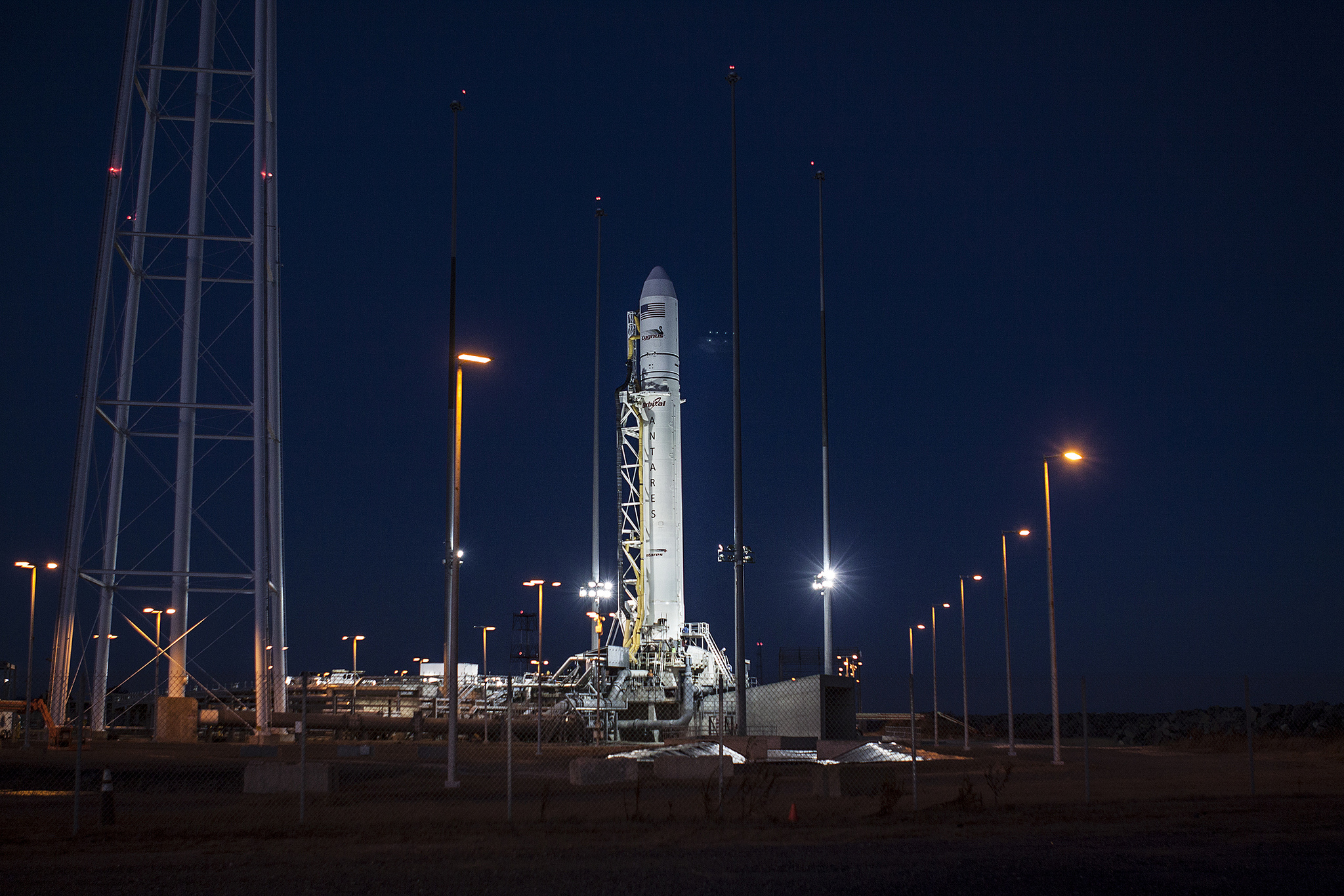 Antares Rocket On Ocean Launch Pad: Orb-1