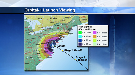 This NASA image depicts the visibility range along the U.S. East Coast for the launch of an Orbital Sciences Corp. Antares rocket launching Jan. 9, 2014 from NASA's Wallops Flight Facility on Wallops Island, Va.