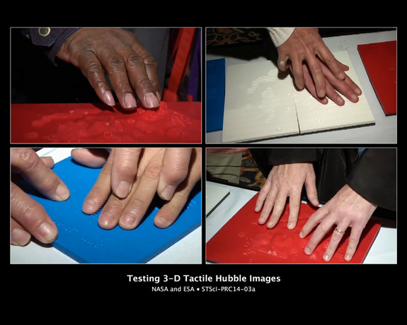 These images show people with visual impairments using their fingers to explore 3D tactile representations of images taken by NASA's Hubble Space Telescope. In these representations, stars, filaments, gas, and dust shown in Hubble images of the bright star cluster NGC 602 have been transformed through 3D printing into textures, appearing as raised open circles, lines, and dots.