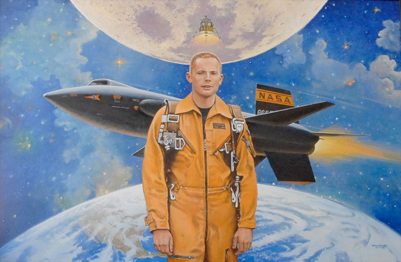 Neil Armstrong, seen here in an original painting by artist Robert McCall depicting the astronaut's early NASA career when he was a research pilot at the flight center that will now bear his name.
