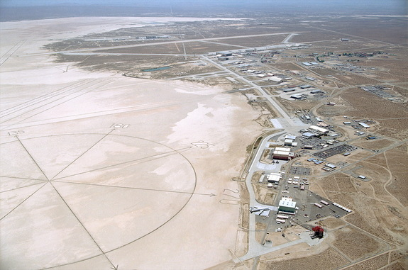Aerial photograph of NASA Dryden Flight Research Center, which Congress has voted to rename after astronaut Neil Armstrong.