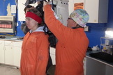 Journalist Elizabeth Howell gets suited up for a simulated Marswalk at Utah's Mars Desert Research Station.