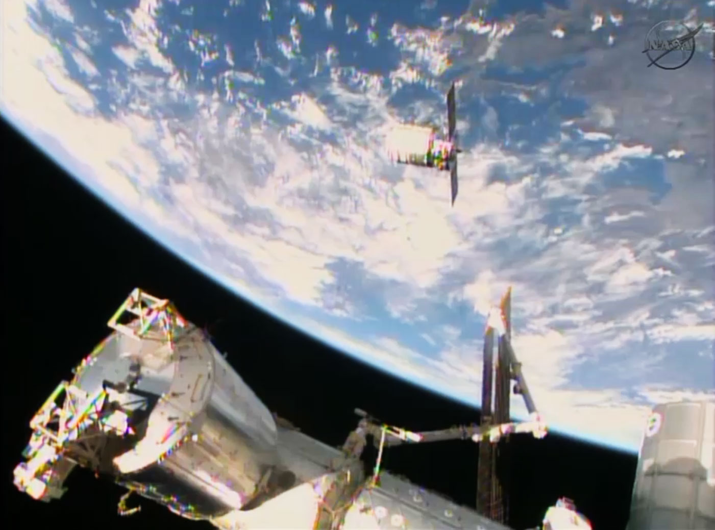 Orbital Sciences' Cygnus commercial cargo ship is on its final approach to the International Space Station before being captured by a robotic arm on Jan. 12, 2014.