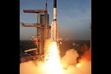 A remote camera near the launch pad captured this view of the Indian Geosynchronous Satellite Launch Vehicle's liftoff on Jan. 5, 2014.