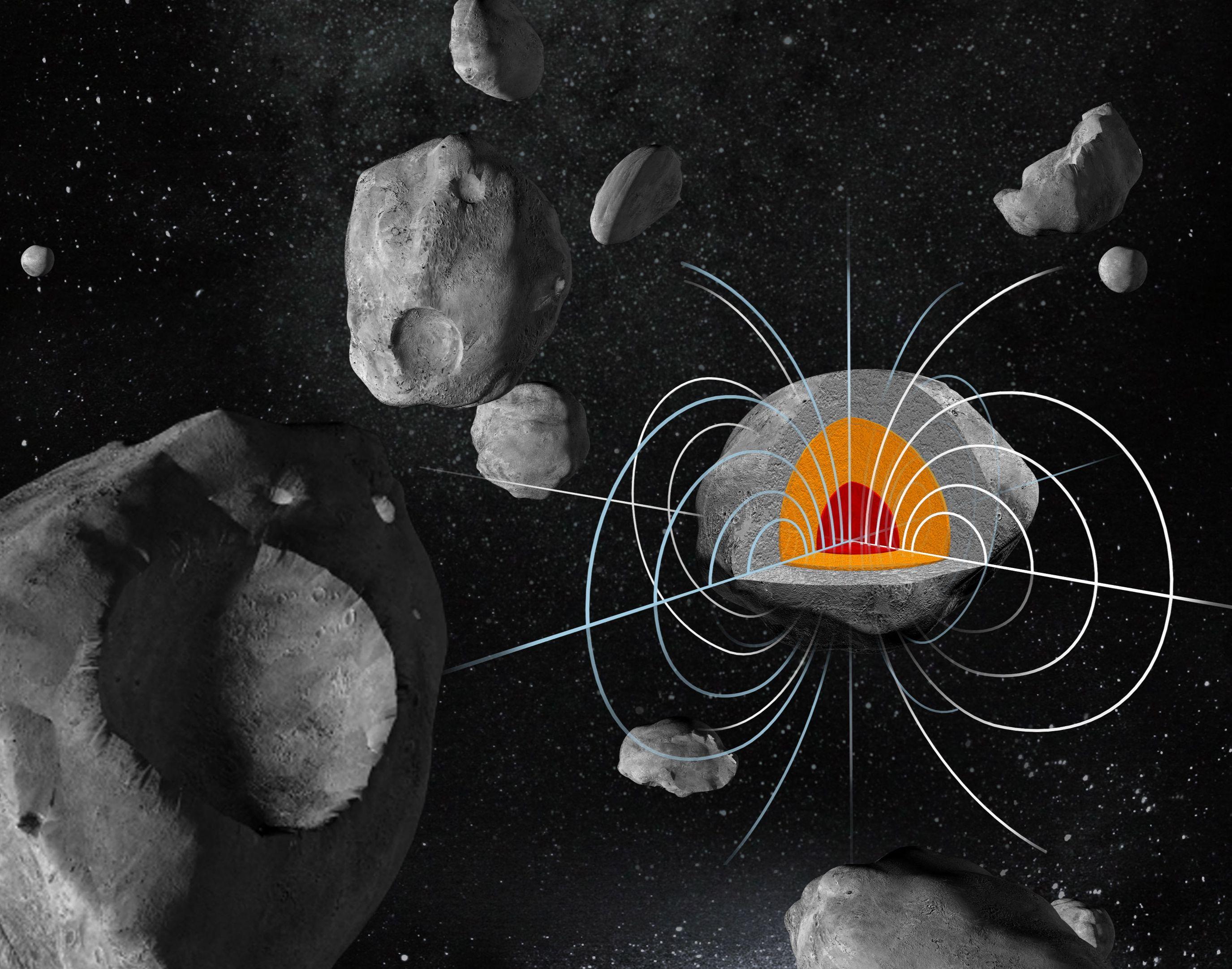 Magnetic Field of a Huge Metal Asteroid