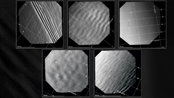 A study of gravity waves in the atmosphere of Venus found four types of waves: long (top left), medium (top center), short (top right) and irregular (bottom row). Identified in images obtained with the Venus Monitoring Camera aboard Venus Express, they were mostly found at the planet's high latitudes (60-80 degrees N).