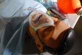 """This 10-kilogram mannequin was used to show untrained crew members how to administer anesthesia and insert tubes inside the """"patient's"""" throat. France's Lille 2 University mannequin was at Utah's Mars Desert Research Station."""