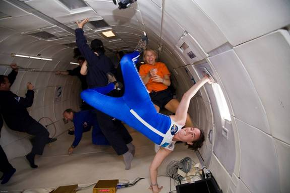 "An astronaut ""skinsuit"" concept undergoes weightless testing in a microgravity research flight. The skinsuit is a tailor-made garment designed to squeeze an astronaut's body to help counteract the lack of Earth's gravity in space."