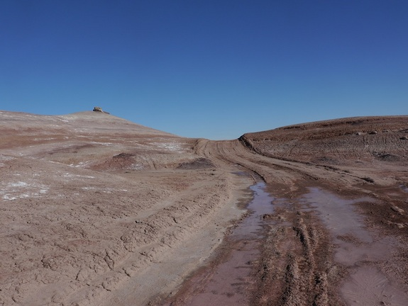 The isolated road that journalist Elizabeth Howell followed near Utah's Mars Desert Research Station had steep slopes and icy and muddy pathways.
