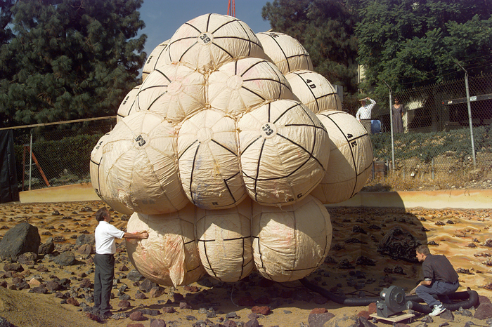 Space History Photo: Pathfinder Air Bags