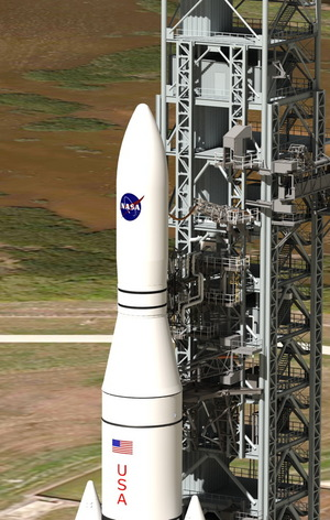 This artist concept shows NASA's Space Launch System, or SLS, which offers numerous benefits for scientific missions, from larger spacecraft mass to reduced travel time through the solar system in route to other worlds. (Concept updated Jan. 14, 2014.)