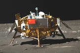 Chang'e 3 Moon Lander is seen on Dec. 22, 2013. On January 10, 2014, the Chinese Academy of Sciences published photographs of the moon and Earth taken by the Chang'e 3 lander and Yutu rover during the period of Dec. 14-26, 2013. The Chinese spacecraft landed on the moon on Dec. 14, 2013.