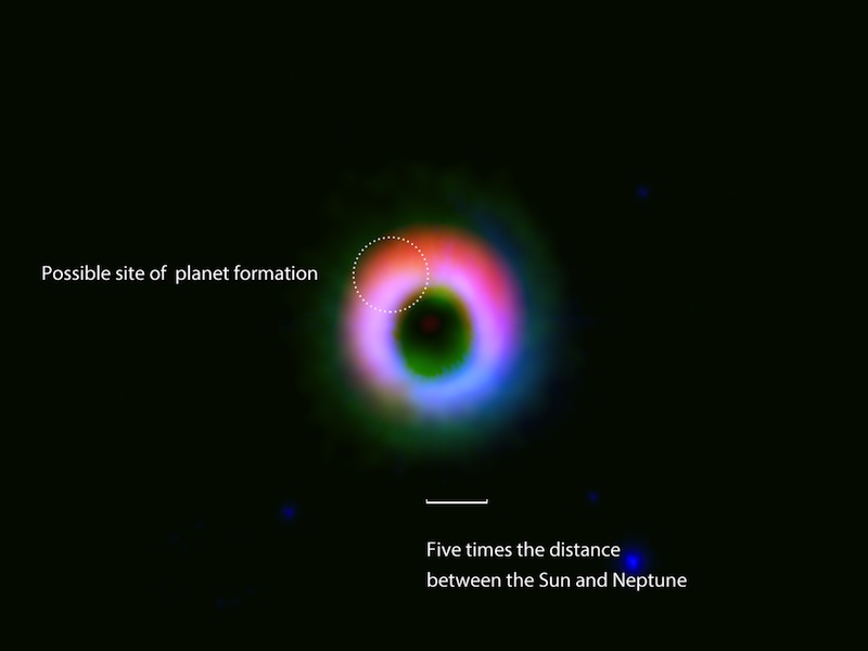 Giant Planet-Forming Ring Spotted Surprisingly Far from Young Star