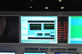 The wake-up signal from the European Space Agency's Rosetta spacecraft can be seen in this photo from ESA's Spacecraft Operations Center in Darmstadt, Germany on Jan. 20, 2014. Rosetta awoke from a 31-month slumber to prepare for its arrival at a comet later this year.