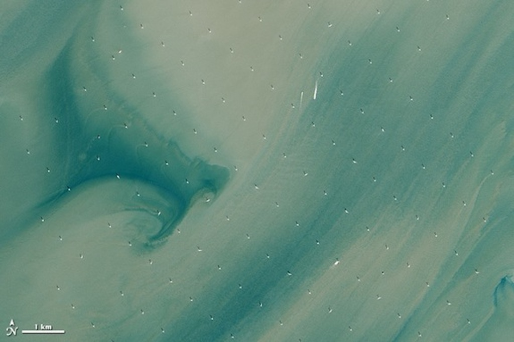 World's Largest Offshore Wind Farm Seen From Space
