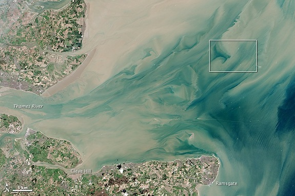 The London Array, the world's largest offshore wind farm, is located in the Thames Estuary, where the River Thames meets the North Sea. The satellite photo above is a closeup of the area marked by a white box in this image.
