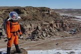 Crew 133 commander Paula Crock during a January 2014 mission at Utah's Mars Desert Research Station.