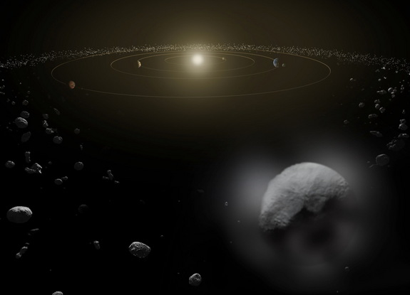 An artist's depiction of the dwarf planet Ceres. Observations by ESA's Herschel space observatory between 2011 and 2013 find that the dwarf planet has a thin water vapor atmosphere.