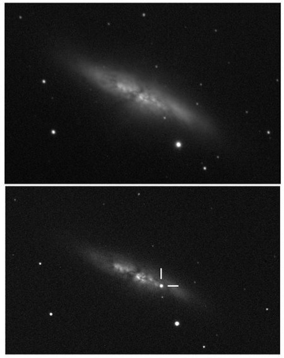 This comparison image shows a supernova suddenly appearing in the nearby galaxy M82.