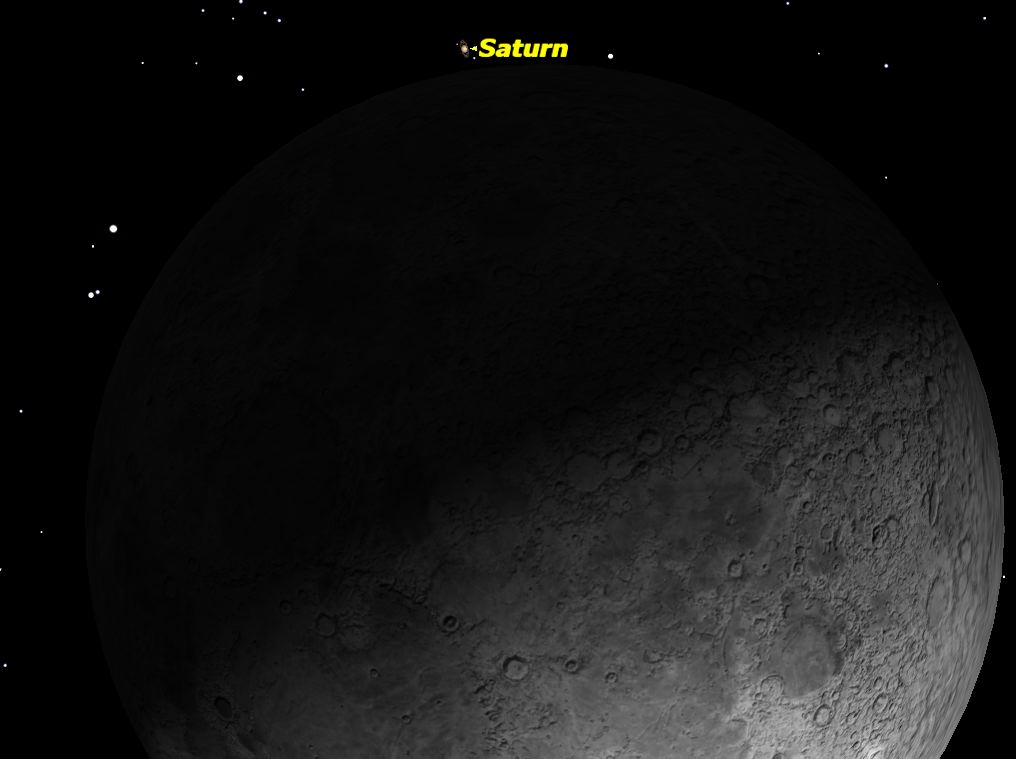 The Moon Close to Saturn, February 2014