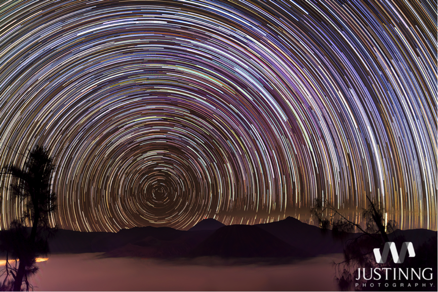 Star Trails Over Mount Bromo