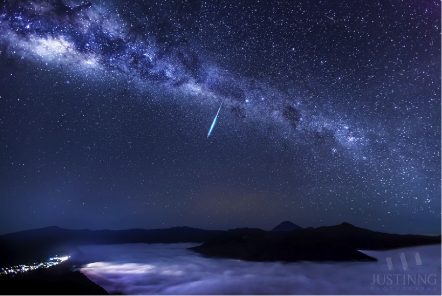 Eta Aquarid Meteor Over Mount Bromo