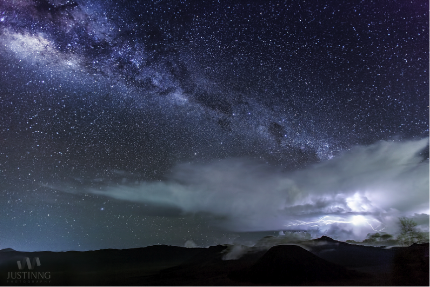 Lightning and Milky Way Over Mount Bromo