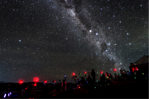 Behind the scenes image taken in May 2013 of the astrophotography expedition at Mount Bromo. Photographers endured more than eight hours of shooting under the Milky Way galaxy at a temperatures between 5 to 8 degrees Celsius.