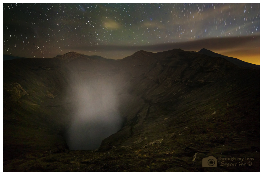 Mount Bromo Crater Under Starry Night
