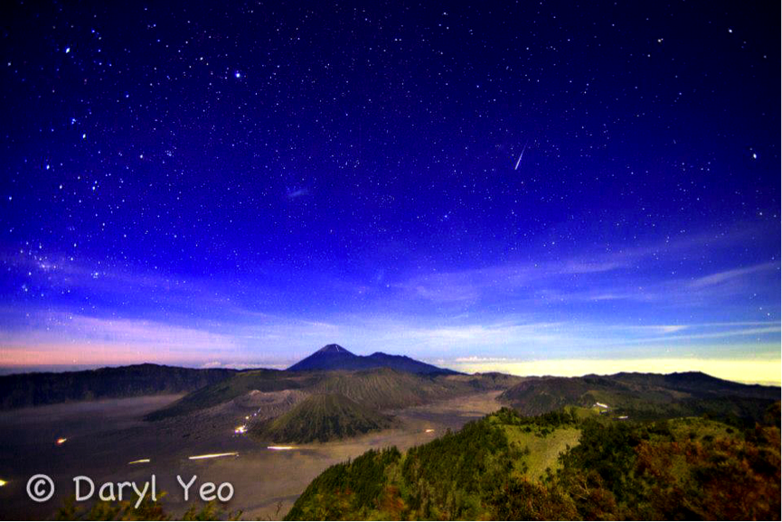 Southern Taurid Meteor Over Mount Bromo