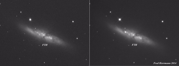 These before and after shots of the Cigar Galaxy (M82) by amateur astronomer Fred Hermann illustrate the dramatic emergence of a new supernova. The image at left was captured on Nov. 28, 2013. The image at right was snapped on Jan. 22, 2014.