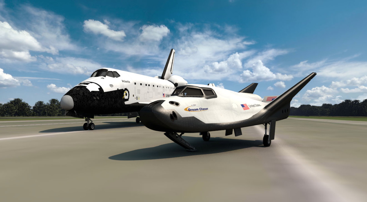 SNC's Dream Chaser with Space Shuttle Atlantis Rendering