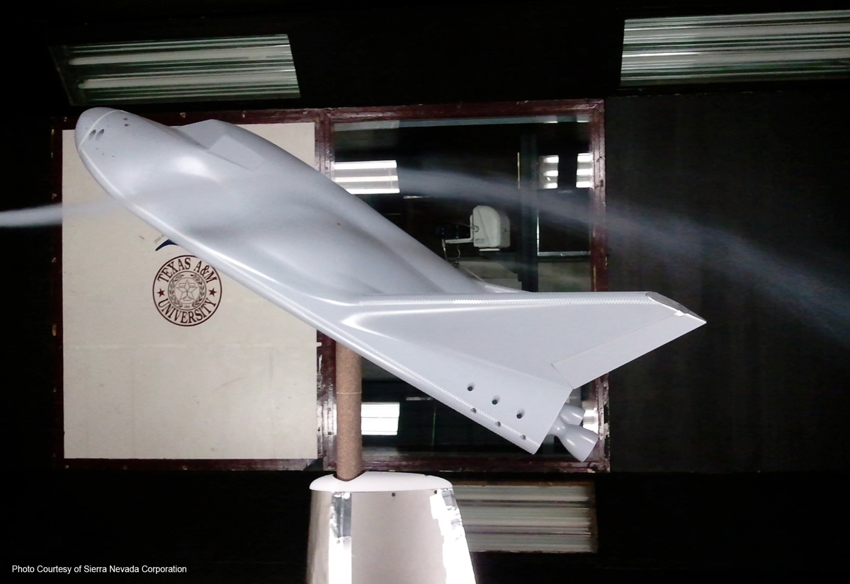 Scaled Dream Chaser Model Undergoing Wind Tunnel Testing at Texas A&M University