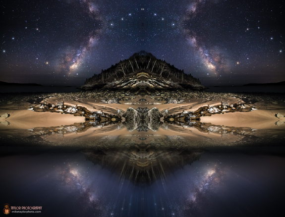An artistic manipulation of a photograph of the Milky Way captured by photographer Mike Taylor.