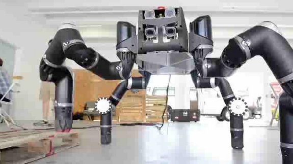 Up close and personal with NASA's RoboSimian robot. The four-legged dexterous robot was built by NASA engineers at the agency's Jet Propulsion Laboratory to compete in the DARPA Robotics Challenge for disaster-response in December 2013.