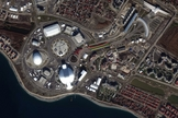 This DigitalGlobe satellite image shows the 2014 Winter Olympics village in Sochi, Russia. This image was collected Jan. 2, 2014.