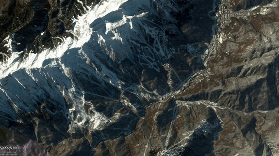 This DigitalGlobe satellite image shows the 2014 Winter Olympics event slopes in Sochi, Russia. This image was collected Jan. 2, 2014.