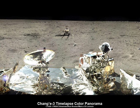 This time-lapse, cropped panorama of the Chang'e-3, Yutu Rover landing site shows the last position of the Yutu rover as it heads off to the south, departing the landing site. The image was created by Ken Kremer and Marco Di Lorenzo using Chang'e 3 mission images released via China's state-run news outlets.