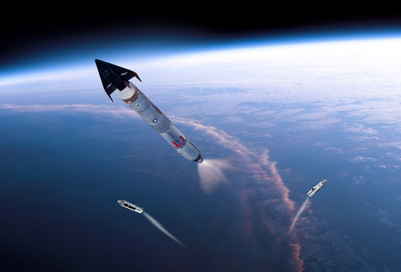Flash back! Solid rocket boosters drop away as a USAF X-20 piloted Dyna-Soar space plane heads into orbit atop a Titan III booster. Program was canceled in 1963. Is today's X-37B a rekindling of some X-20 mission objectives?
