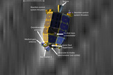 This NASA graphic shows an artist's view of NASA's LADEE moon dust probe overlaid on a photo of the actual spacecraft captured by NASA's Lunar Reconnaissance Orbiter (geometrically corrected). Image released Jan. 29, 2014.