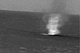 A martian dust devil captured in an image by the MER Spirit rover around March 10, 2005.