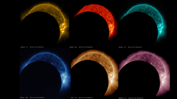 A rainbow of lunar transits as seen by NASA's Solar Dynamics Observatory. The observatory watches the sun in many different wavelengths of light, which are each colorized in a different color.