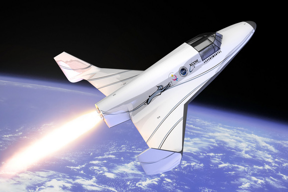 An artist's depiction of XCOR Aerospace's suborbital Lynx spacecraft.