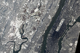This image from NASA's Earth Observatory-1 satellite shows a context view of the the New York City and northern New Jersey area that is home to MetLife Stadium, the location of Super Bowl XLVIII on Feb. 2, 2014. This image was captured from space on Jan. 30.