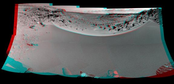 This stereo mosaic of images from the Navigation Camera on NASA's Mars rover Curiosity shows the terrain to the west from the rover's position on Jan. 30, 2014. The scene appears three dimensional when viewed through red-blue glasses with the red lens on the left.