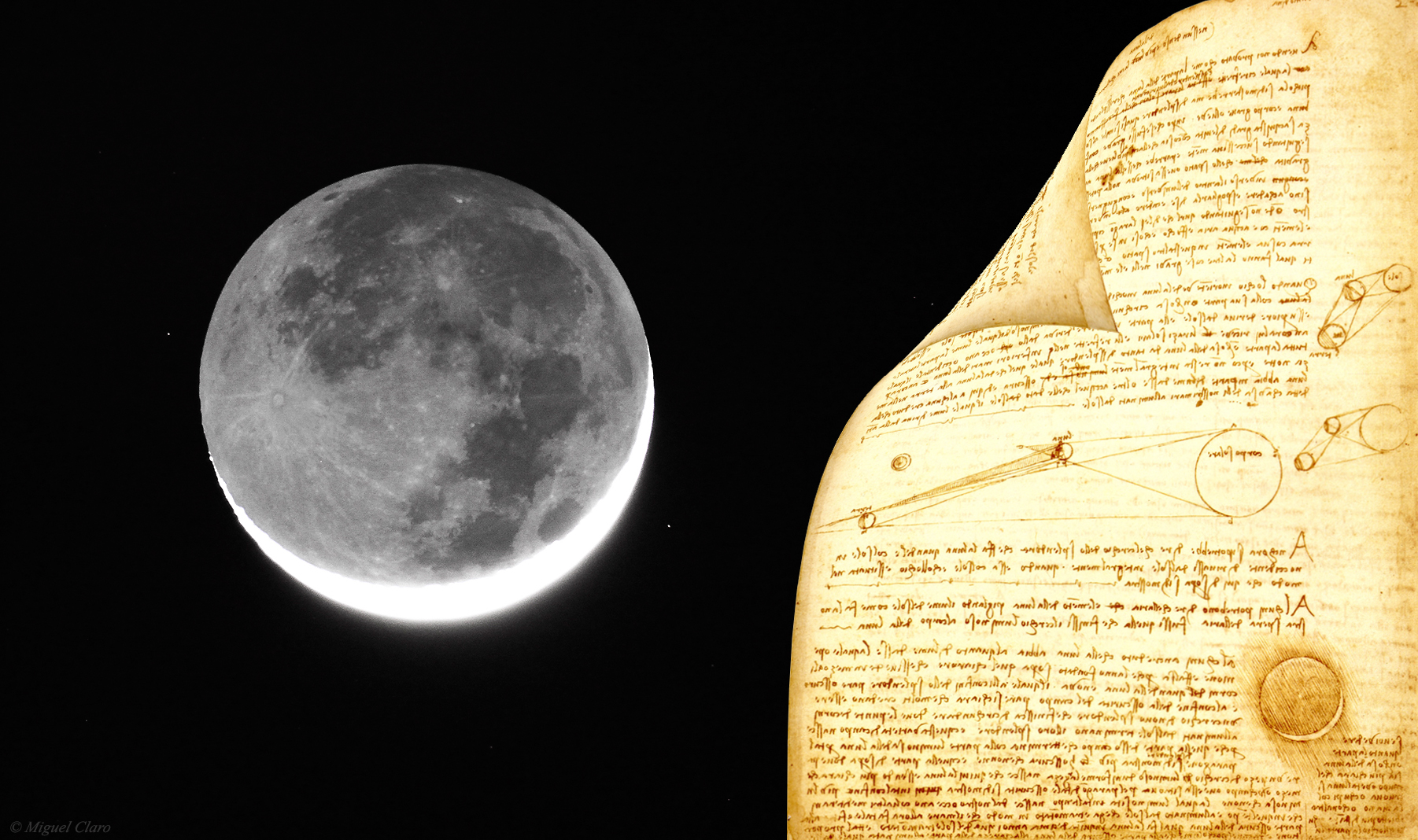 The Moon, Earthshine and Codex Leicester Composition by Miguel Claro